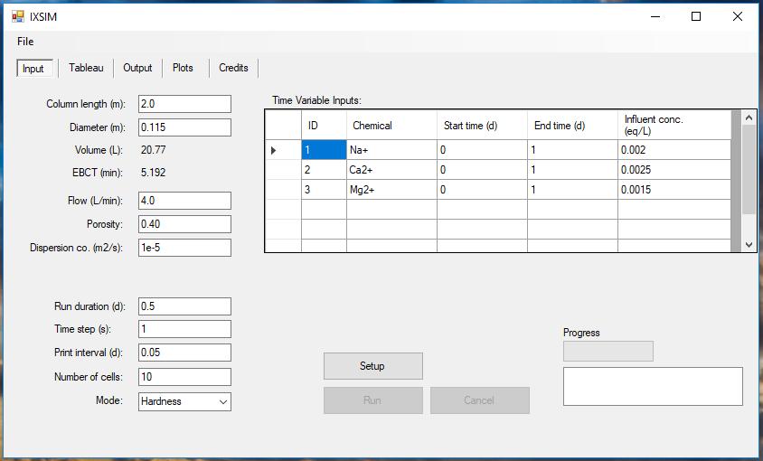 Screenshot of IXSIM software.